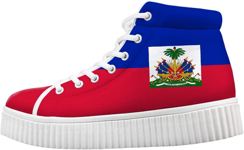 Owaheson Platform Lace up Sneaker Casual Chunky Walking shoes High Top Women Haiti Flag