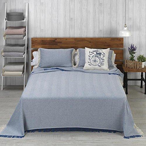 HIPERMANTA Colcha Foulard Multiusos Modelo Espiga para sofá y para Cama, Algodón-Poliéster, 180x260 cms. Azul