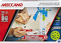 BUILDING KIT FOR UNLIMITED CREATIONS: Budding inventors now have everything they need to get creative with gears! Introducing Meccano's Geared Machines: a building kit that shows young thinkers how principles from science, technology, engineering, ar...