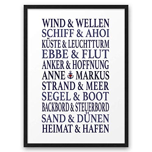 Traumpaar MARITIM ABOUKI Kunstdruck Poster Bild mit Namen personalisiert Geschenk-Idee Hochzeit Valentinstag Jahrestag für Liebes-Paar Sie Ihn optional mit Holz-Rahmen