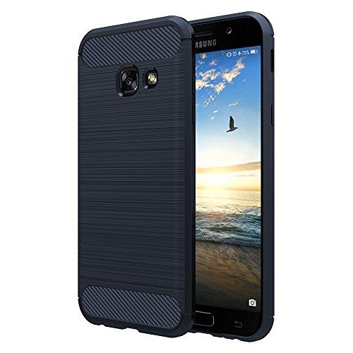 Simpeak Hülle Kompatibel mit Samsung Galaxy A3 2017, Premium Weiche Carbonfaser Elastisch Schützendes Rückseiten-Hülle Kompatibel für Samsung A3 2017 [Fallschutz] [rutschfest] [Kratzfest] - Blau