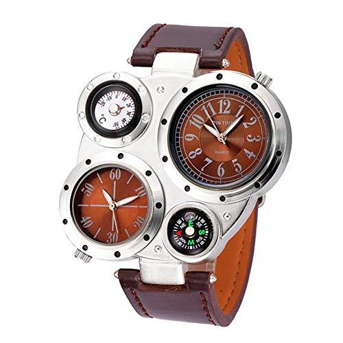 Jakieroye Reloj Ronda Geniales Pantalla Brújula Termómetro Dual Time Dial