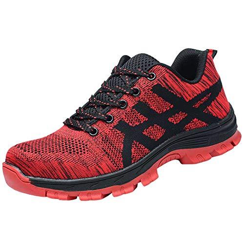 Deportiva Zapatos Zapatillas De Seguridad para Hombre Trabajo con Tapa Acero Industria Calzado Antideslizante Rojo 44 EU