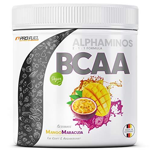 ALPHAMINOS BCAA Pulver 2:1:1   TESTSIEGER   Das ORIGINAL von ProFuel   Essentielle Aminosäuren   Unfassbar leckerer Geschmack (Mango-Maracuja)