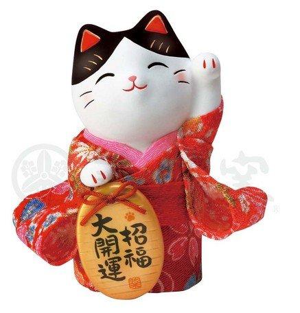 Matsumoto-Toki Moneda Holding Acogedor Gato en Kimono 招福 (SHOFUKU) 7417