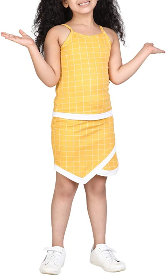 Girl's Top and Bottom Dress (Yellow, 8-9 Years)