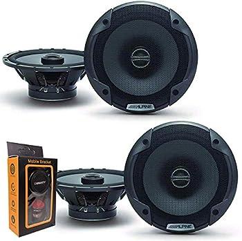 2  Pairs of Alpine SPE-6000 120W 6.5  2-Way Type-E Coaxial Speakers w/Silk Tweeters Plus Gravity Mobile Bracket Holder Bundle