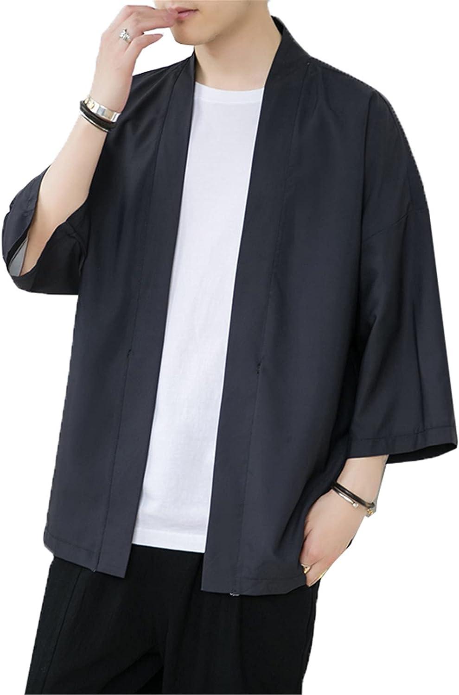 Pure Pang Mens Japanese Style Kimono Tops Loose Yukata Outwear Seven Sleeve Lightweight Cardigan