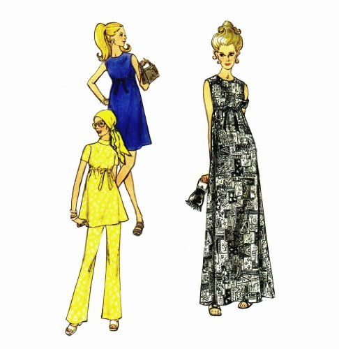 Maternity Dress Pants 1960s Butterick 5793 Sewing Pattern Size 12 Bust 34