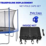 Upper Bounce Super Net & Pole Cap Set Fits for 8' Round Trampoline Frames Using 6 Poles