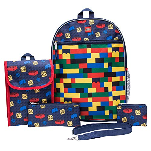 LEGO Classic Backpack Combo Set - Lego Boys' 5 Piece Backpack Set - Lego Backpack & Lunch Kit (Navy)