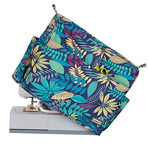 HOMEST Floral Sewing Machine Dust Cover with Storage Pockets, Compatible with Most Standard Singer and Brother Machines