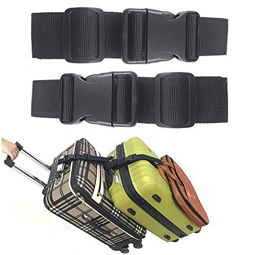 Ajmyonsp バッグ追加 荷物ストラップ 調節可能 スーツケース ベルト 旅行アタッチメント 旅行アクセサリー 3つの荷物を接続するためのブラック 2個パック