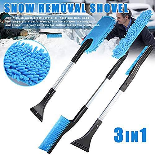 3 in 1 Afneembare Sneeuwschop met Schraper + Borstel, Aluminium Multifunctionele Voorruit Raam Schraper Schoonmaken Auto Sneeuwschop Tool