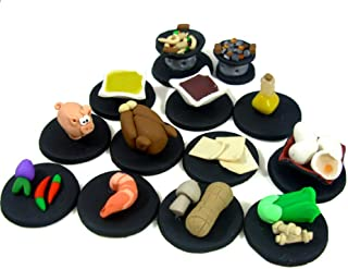 Wok Star Game Token set -- 11 ingredients and two woks, board game pieces, replacement pieces, unique wok, wok star game, ingredients