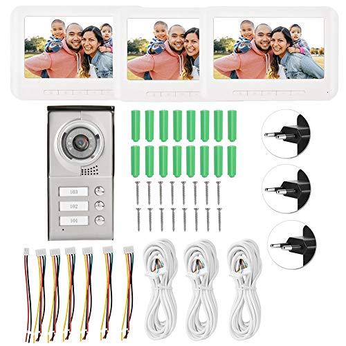 Caredy Videoportero con Cable Intercomunicador, Timbre Digital de 7 Pulgadas, Pantalla TFT-LCD a Color de 7 Pulgadas de 4 Hilos con 3 monitores para 3 Apartamentos, visión Nocturna(Enchufe de la UE)