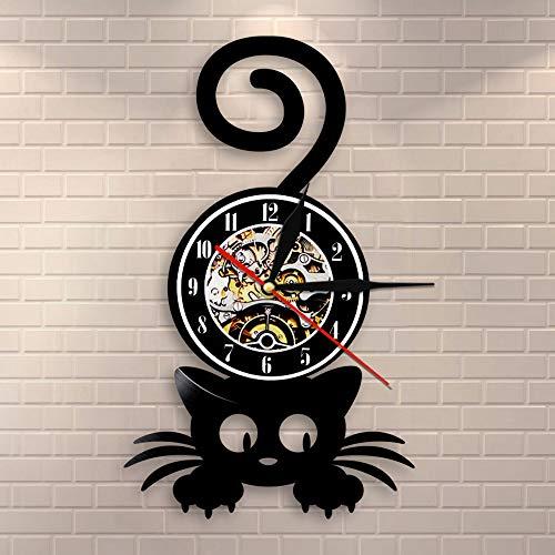 BFMBCHDJ Verrückte Katze Dame Wandkunst Silhouette Kätzchen Katze mit lustigen Schwanz Home Decor Wanduhr Schwarz Kitty Vinyl Schallplattenuhr Katze Haustier Liebhaber Mit LED 12 Zoll