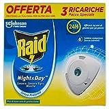 Raid Night & Day Ricarica, Antizanzare Elettrico, Repellente Zanzare Inodore a Sabbia Compressa, Confezione da 3...