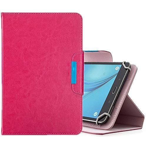 HH-Case para tabletas de 10 pulgadas universal de color sólido horizontal Flip Funda de cuero con ranuras para tarjetas y soporte y cartera hangma (color: rosa rojo)