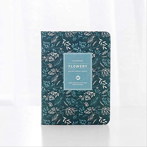 Calendario anual vintage floral semanal diario mensual planificador diario organizador de papel cuaderno A6 azul oscuro
