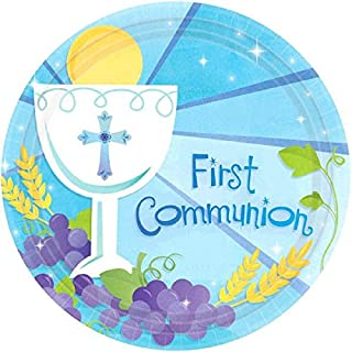"""Blue First Communion Round Dessert Paper Plates Religions Party Disposable Tableware and Dishware, 7"""", Pack of 18."""