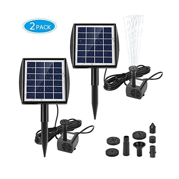 Ankway Bomba de fuente solar, 2W Bomba de agua para fuente flotante solar con 7 boquillas y soporte inclinable, Kit de…