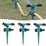 3 Pezzi Irrigatori d'Acqua Automatici per Prato da Giardino, Irrigatore per Grandi Aree, Spruzzatore d'Acqua a 3 Braccia Rotanti a 360 Gradi, Può Essere Utilizzato per l'Irrigazione Pastorale