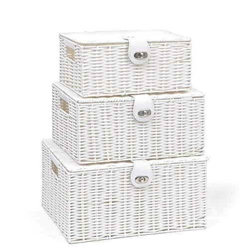 SPICOM White Resin Woven Wicker Hamper Storage Basket Box with Lid & Lock Set of 3 Small Mediam Large