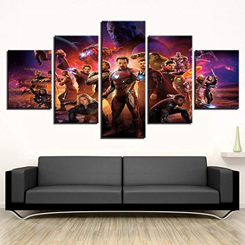 YOPLLL Immagini Decorazioni per La Casa Soggiorno 5 Pezzi di Pittura Stampa HD Poster Camera da Letto Decor Sfondo Pittura di Arte della Parete La Poster del Film Avengers Infinity War
