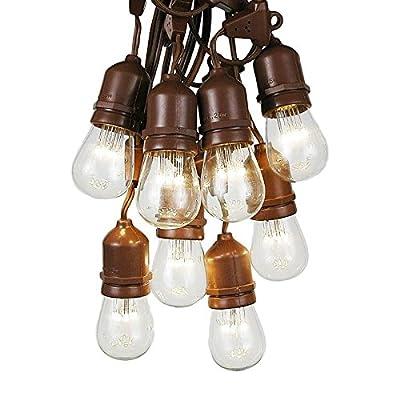 37.5 Foot S14 Edison Outdoor String Lights - Suspended - Commercial Grade String Lights - Backyard Garden Gazebo – Cafe Market String Lights – Vintage Patio String Lights - Brown Wire