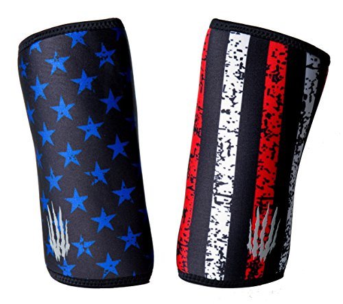 Bear KompleX Elbow Sleeves (SOLD AS A PAIR of 2) for weightlifting, powerlifting, wrestling, strongman, bench press, cross fitness, and more. Compression sleeves come in 5mm thickness Elbow STAR L