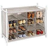mDesign Estantería zapatero con 16 compartimentos – Compacto zapatero para armario o recibidor...