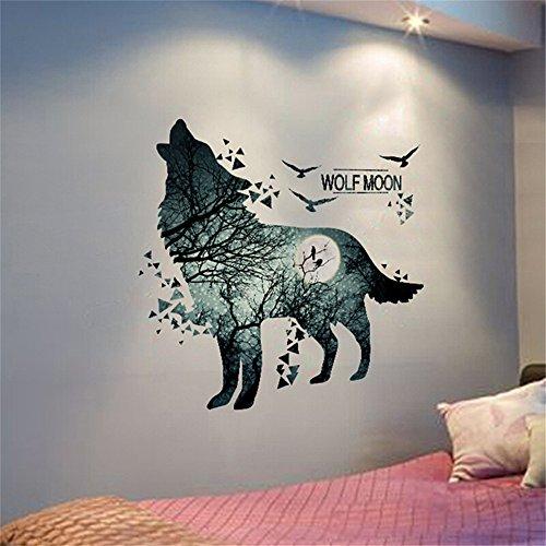 XiLi Joy Wolf Mond Wandsticker Kunst Wandaufkleber Entfernbare Wandtattoos Wandbilder Hausdekoration für Schlafzimmer Wohnzimmer Junge Mädchen Babyzimmer kinderzimmer - TZ5280097