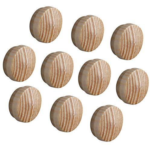 Gedotec Loch-Abdeckungen universal Abdeckkappen Holz für Blind-Bohrung Ø 15 mm | Massivholz Kiefer naturbelassen | Gesamt Ø 17 mm | Kappen rund zum Eindrücken | 20 Stück - Lochkappen für Möbel