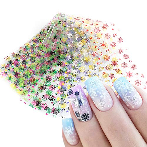 Snowflake Nail Art Transfer Foil Stickers 10Pcs Winter Snow Christmas Design Nail Art Supplies Foils Holographic Color Sliders Manicure Tips Accessories Women DIY Beauty Craft Nail Art Decorations
