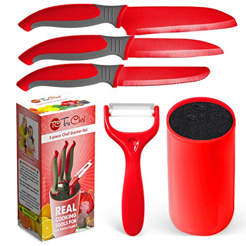 Kids Knife Set For Cooking – 5 Piece Kids Cook Set in Red – Kids Cooking Supplies with Kids Chef Knife, Kids Paring Knife, Kids Peeler, Kids Scissors & Universal Holder – TruChef
