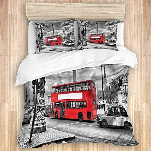 ATZTD Juego de ropa de cama con 2 fundas de almohada, diseño de Londres con autobús rojo Inglaterra, tamaño Super King, 260 x 220 cm
