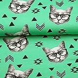 Doppelmoppel Jersey Stoff Katzen Brille grün   11,40 EUR/m
