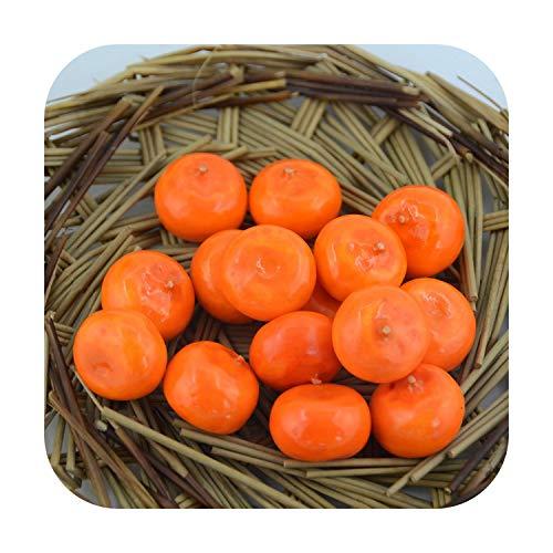 Flores artificiales, 60 unidades de pequeñas simulaciones de espuma de plástico artificial, fruta artificial y verduras, casa, fiesta, cocina, decoración de boda, color naranja