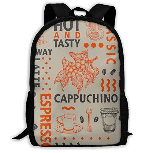 Hangdachang School Rucksack Coffee Bag Warm and Tasty Casual Travel Bag for Teenagers Boys Girls