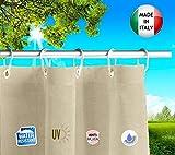 Tende da Sole per Esterno con Anelli a Caduta su Misura Made in Italy Stoffa Tessuto Impermeabile...