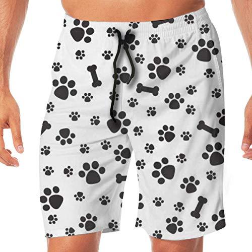 HWHREN Mens Beach Shorts Swim Trunks Dog Paw Isolated Dog Bone Male Swimsuit Quick Dry