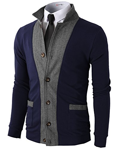 H2H Mens Two-Tone Herringbone Jacket Cardigans Navy US M/Asia L (JLSK03)
