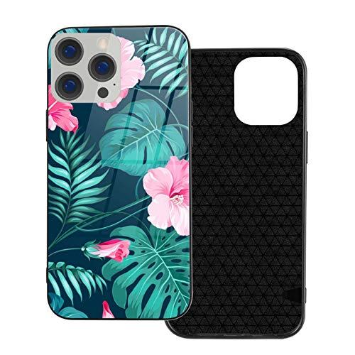 Compatible con iPhone 12 Pro Max, carcasa resistente de cuerpo completo, funda de vidrio TPU suave para iPhone 12 Pro Max 6.7 pulgadas, patrón de flores tropicales