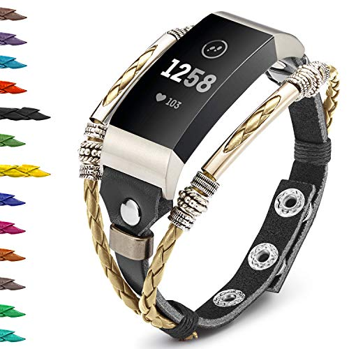 Compatible with Fitbit Charge 4/ Charge 3/SE Bands for Women, Marval.P Handmade Leather Band, Replacement Unique Bracelet Strap, Wristbands with Adjustable Size, Fashion Wrist Band Straps Lover