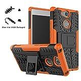 LiuShan Sony XA2 Hülle, Dual Layer Hybrid Handyhülle Drop Resistance Handys Schutz Hülle mit Ständer für Sony Xperia XA2 Smartphone (mit 4in1 Geschenk verpackt),Orange