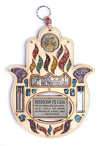 Holy Land eau terre en bois Décoration murale à suspendre faite main avec strass Home Blessing pierres Semi-précieuses cadeau
