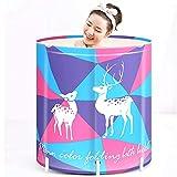Cubo de baño Plegable Barril de baño for Adultos Plegable portátil baño Baño Bañera de hidromasaje Barril de Hogares (Color : Purple, Size : 65x65cm)