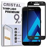 REY Protector de Pantalla Curvo para Samsung Galaxy A3 2017, Negro, Cristal Vidrio Templado Premium, 3D / 4D / 5D