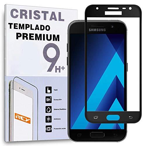 REY Protector de Pantalla Curvo para Samsung Galaxy A3 2017, Negro, Cristal...